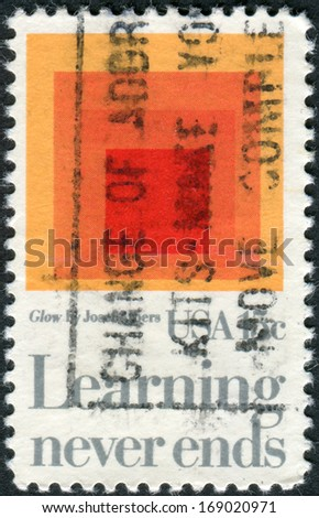 "USA - CIRCA 1980: A postage stamp printed in USA, shows a picture of the ""Homage to the Square: Glow,"" by Josef Albers, circa 1980 - stock photo"