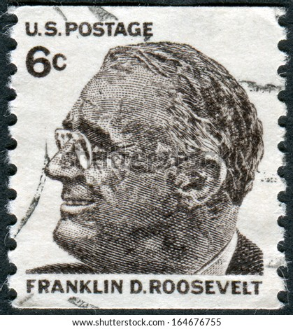 USA - CIRCA 1968: A postage stamp printed in USA, shows a portrait of 32th President of the United States, Franklin Delano Roosevelt, circa 1968 - stock photo