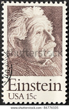 USA - CIRCA 1979. A postage stamp printed in USA shows image portrait of famous American physicist Albert Einstein (1879-1955), circa 1979. - stock photo