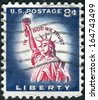 USA - CIRCA 1958: A postage stamp printed in USA, shows one of the symbols of America, Statue of Liberty, circa 1958 - stock photo