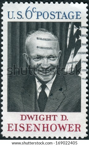 USA - CIRCA 1969: A postage stamp printed in USA, shows the 34th President of the United States, Gen. Dwight D. Eisenhower, circa 1969
