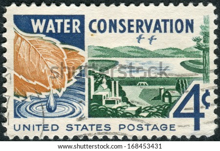 USA - CIRCA 1960: A postage stamp printed in USA, Water Conservation Issue, shows Water, from Watershed to Consumer, circa 1960 - stock photo