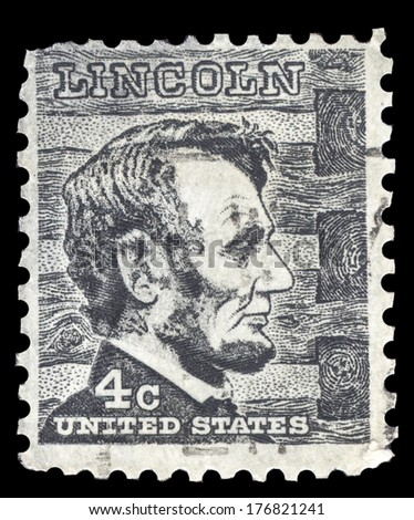 USA-CIRCA 1965: A postage stamp shows image portrait of Abraham Lincoln the 16th President of the United States of America, circa 1965.