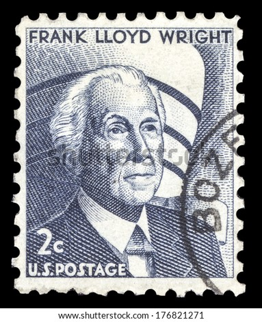 USA-CIRCA 1966: A postage stamp shows image portrait of Frank Lloyd Wright A famous American Architect, circa 1966. - stock photo