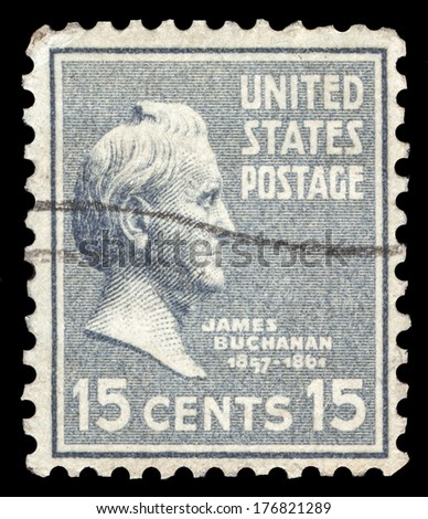 USA-CIRCA 1938: A postage stamp shows image portrait of James Buchanan the 15th President of the United States of America, circa 1938. - stock photo
