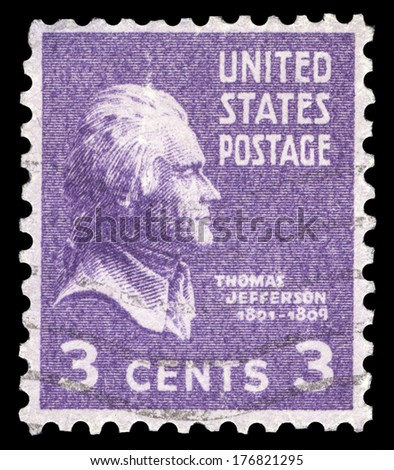 USA-CIRCA 1938: A postage stamp shows image portrait of Thomas Jefferson the 3rd President of the United States of America, circa 1938. - stock photo