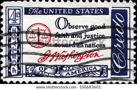 USA - CIRCA 1960 : A postcard printed in the USA with text: Observe good faith and justice toward all nations, G.Washington - American Credo, circa 1960