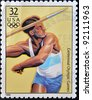 USA - CIRCA 1996: A stamp dedicated to centennial olympic games, shows man throwing the javelin, circa 1996. - stock photo