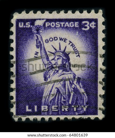 USA - CIRCA 1954: A stamp dedicated to the The Statue of Liberty is a colossal neoclassical sculpture on Liberty Island in New York Harbor, circa 1954. - stock photo