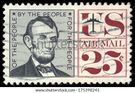 USA - CIRCA 1959: A stamp printed by USA shows image portrait of President Abraham Lincoln (1809-1865), circa 1959 - stock photo
