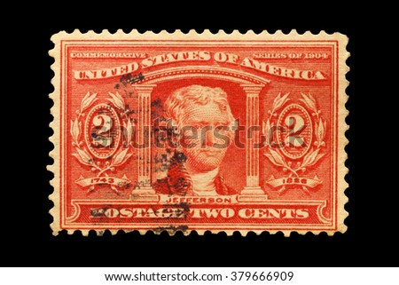 USA-CIRCA 2016 A stamp printed in the United States in 1904 shows Portrait of  Thomas Jefferson 3rd president of the United States of America, circa 2016.