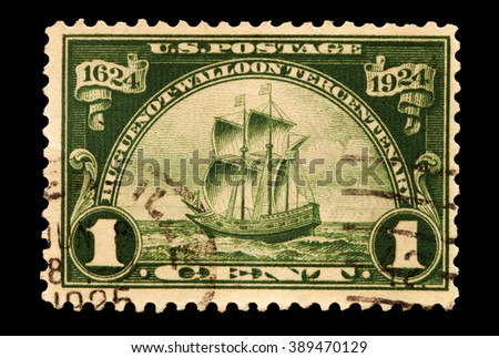 USA-CIRCA 2016 A stamp printed in the United States in 1924 shows the ship that the Huguenot-Walloon people came to America , circa 2016.
