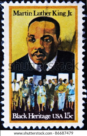 USA - CIRCA - 1979: a stamp printed in the United States of America shows Martin Luther King Jr. And civil rights marchers, Black heritage, circa 1979 - stock photo