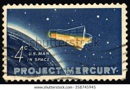 USA - CIRCA 1962: A stamp printed in the USA, dedicated to the project Mercury, and the first flight into space astronaut John Herschel Glenn, shows the Friendship 7 Capsule and Globe, circa 1962  - stock photo