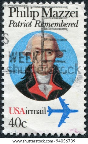 USA - CIRCA 1980: A stamp printed in the USA, dedicated to the 250th anniversary of the birth of Philip Mazzei, circa 1980 - stock photo