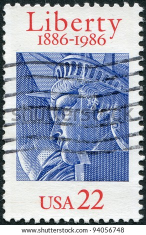 USA - CIRCA 1986: A stamp printed in the USA, dedicated to the 100th anniversary of the Statue of Liberty, circa 1986 - stock photo