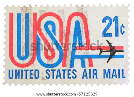 USA - CIRCA 1973: A stamp printed in the USA showing 21c series, circa 1973 - stock photo