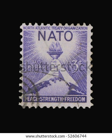 USA - CIRCA 1963: A stamp printed in the USA showing celebration of North Atlantic Treaty Organisation, circa 1963