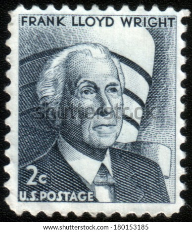 USA - CIRCA 1966: A stamp printed in the USA, shows a Frank Lloyd Wright and the Guggenheim Museum, circa 1966 - stock photo