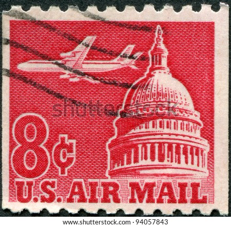 USA - CIRCA 1962: A stamp printed in the USA, shows a Jet Airliner (Douglas DC-8) over Capitol, circa 1962 - stock photo