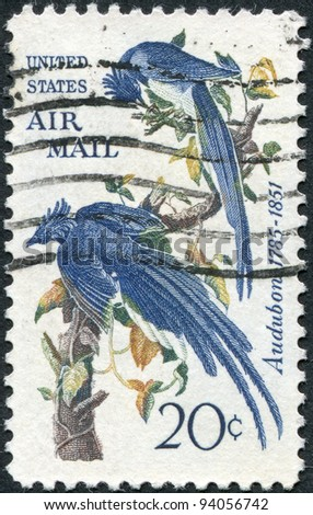 """USA - CIRCA 1963: A stamp printed in the USA, shows a picture of the """"Columbian Jay"""" by John James Audubon, circa 1963 - stock photo"""