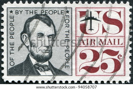 USA - CIRCA 1960: A stamp printed in the USA, shows Abraham Lincoln, circa 1960 - stock photo