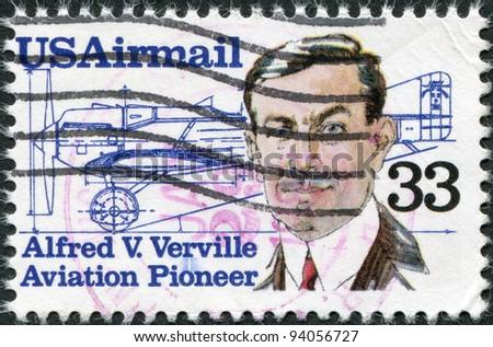 USA - CIRCA 1985: A stamp printed in the USA, shows Alfred V. Verville (1890-1970), aircraft designer, circa 1985 - stock photo