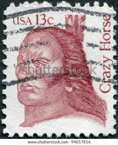 USA - CIRCA 1982: A stamp printed in the USA, shows Crazy Horse, leader of the tribe Oglala Sioux, circa 1982