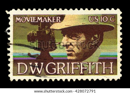 USA - CIRCA 1975: a stamp printed in the USA, shows David Wark Griffith (1875-1948), Motion Picture Producer, circa 1975; - stock photo