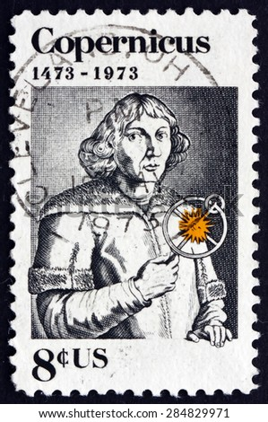 USA - CIRCA 1973: a stamp printed in the USA shows Nicolaus Copernicus, Polish Mathematician and Astronomer, circa 1973