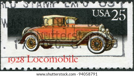 USA - CIRCA 1988: A stamp printed in the USA, shows the car Locomobile, model in 1928, circa 1988