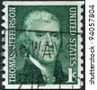 "USA - CIRCA 1968: A stamp printed in the USA, shows the ""Portrait of Thomas Jefferson"" by Rembrandt Peale, circa 1968 - stock photo"