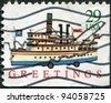 USA - CIRCA 1992: A stamp printed in the USA, shows the steamer, circa 1992 - stock photo