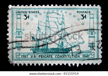 USA - CIRCA 1947: A stamp printed in the USA shows US frigate Constitution 1797, circa 1947
