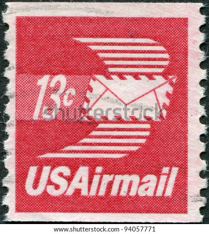 USA - CIRCA 1973: A stamp printed in the USA, shows Winged Airmail Envelope, circa 1973 - stock photo