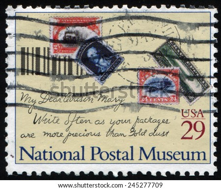 USA - CIRCA 1993: A Stamp printed in United States dedicated grand opening of the Smithsonian Institution's new National Postal Museum in Washington, D.C., circa 1993 - stock photo