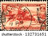 USA - CIRCA 1940: A stamp printed in United States of America devoted to 80th anniv. of the Pony Express, circa 1940 - stock photo