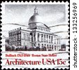 USA - CIRCA 19: A stamp printed in United States of America shows Boston State House, by Charles Bulfinch, series American Architecture, circa 1979 - stock photo