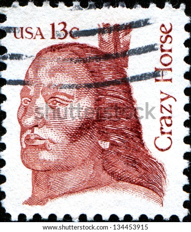 USA - CIRCA 1982: A  stamp printed in United States of America shows Crazy Horse, leader of the tribe Oglala Sioux, circa 1982 - stock photo