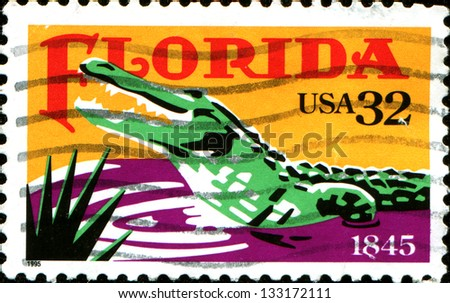 USA - CIRCA 1995: A stamp printed in United States of America shows dedicated to Florida, shows a crocodile, circa 1995