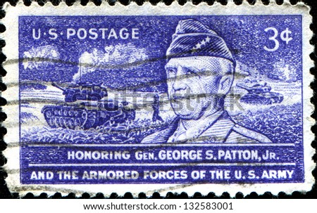 USA - CIRCA 1953: A stamp printed in United States of America shows Gen. George S. Patton, Jr., and Tank in Action, circa 1953