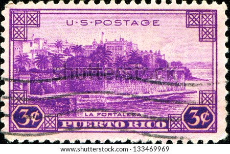 USA - CIRCA 1937: A stamp printed in United States of America shows  La Fortaleza, San Juan, Puerto Rico, circa 1937