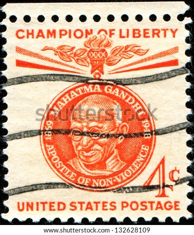 USA - CIRCA 1960: A stamp printed in United States of America shows Mahatma Gandhi, champion of Liberty circa 1960