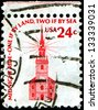 """USA - CIRCA 1975: A stamp printed in United States of America shows Old North Church in Boston and the wording """"Midnight Ride - One if by Land, Two if by Sea"""", circa 1975 - stock photo"""
