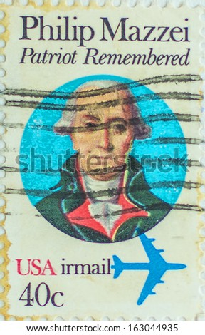 USA - CIRCA 1980: A stamp printed in United States of America shows Philip Mazzei, Political Writer, circa 1980  - stock photo