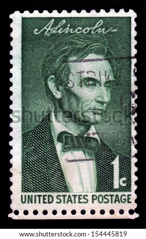 USA - CIRCA 1959: A stamp printed in United States of America shows portrait of the president  Abraham Lincoln (1809-1865), by George Healy, series, circa 1959 - stock photo