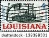 USA - CIRCA 1962: A stamp printed in United States of America shows Riverboat on the Mississippi, Louisiana Statehood Sesquicentennial, circa 1962 - stock photo