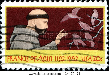 USA - CIRCA 1982: A stamp printed in United States of America shows St. Francis of Assisi, circa 1982 - stock photo