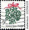 USA - CIRCA 1964: A stamp printed in United States of America shows us stamp mistletoe, circa 1964 - stock photo