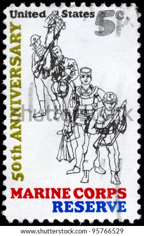 USA - CIRCA 1966: A Stamp printed in USA devoted to 50th anniversary of the founding of the US Marine Corps Reserve, circa 1966